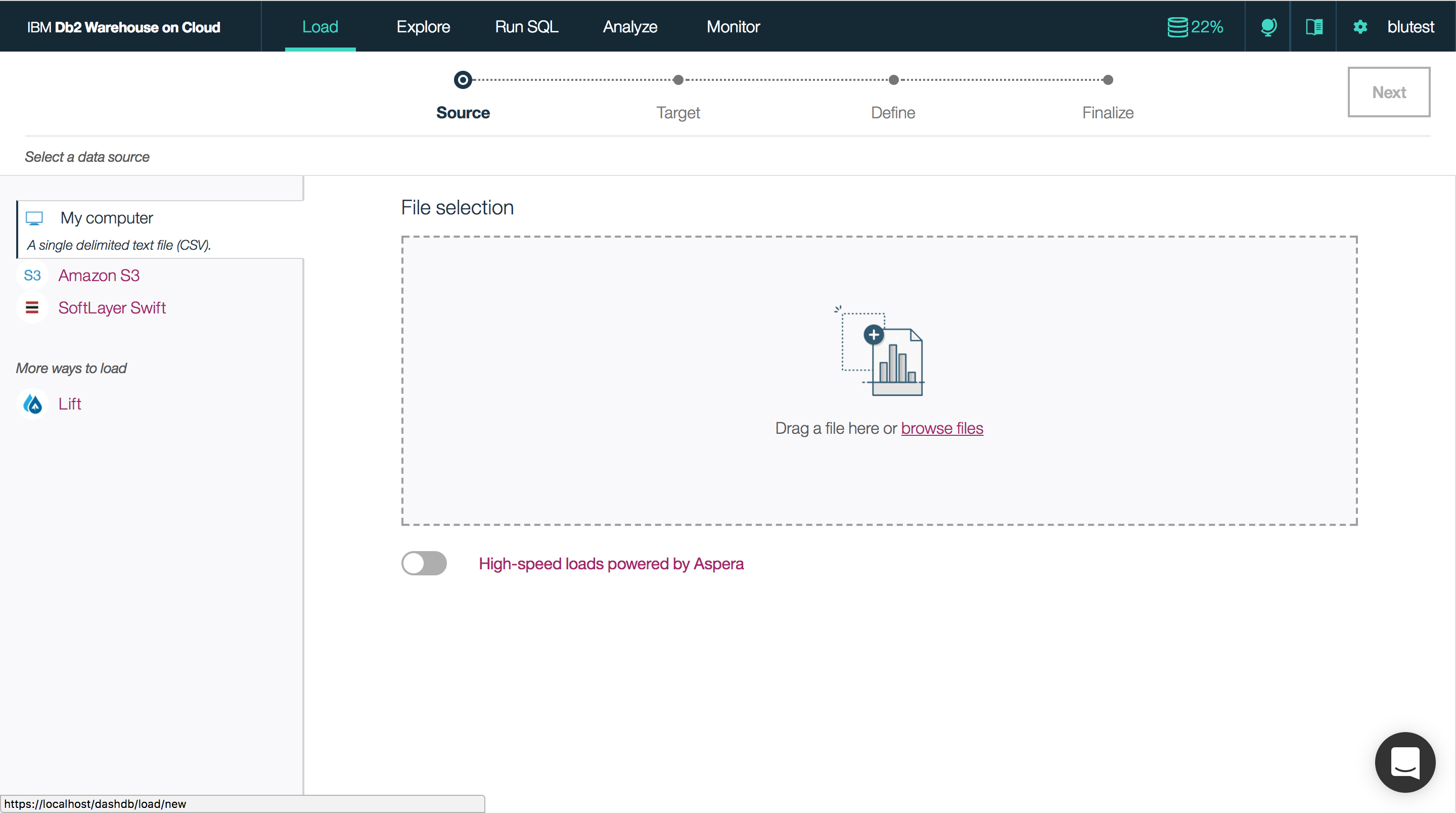Drag and drop files from your computer, load from Amazon S3 or SoftLayer Swift, or use Bluemix Lift for high-speed data loads from a PureData System for Analytics (Netezza) appliance.